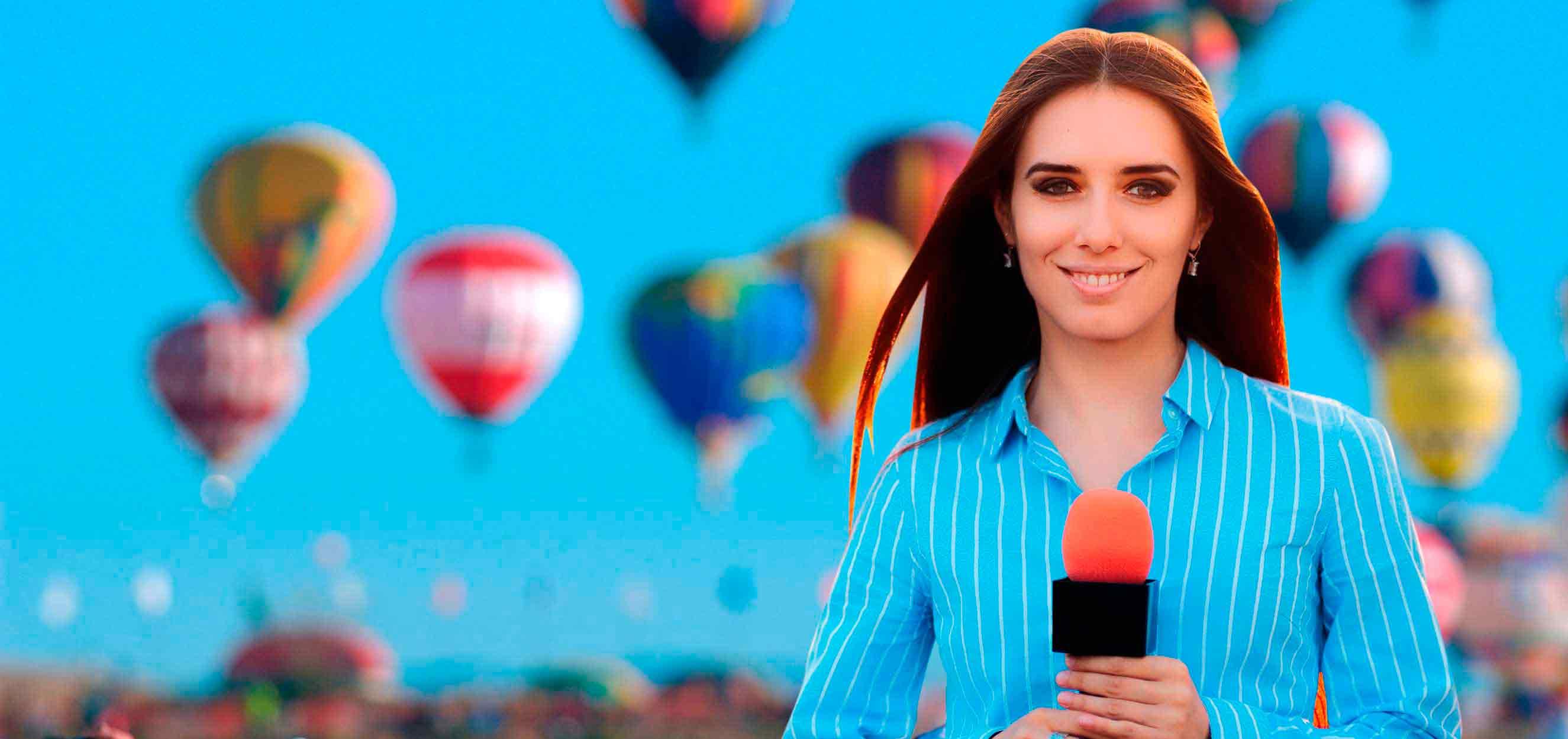 periodista cubriendo el evento de globos RIG